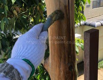 木部剥離剤塗布