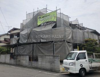 倉敷市真備町S様邸の外壁塗装工事スタート