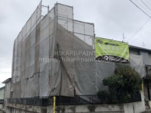 玉野市K様邸で屋根と外壁の塗装工事スタート!!