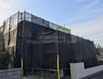 岡山市中区H様邸で、外壁塗装工事が始まりました!