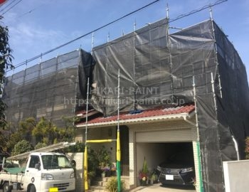 岡山市北区M様邸 屋根・外壁の塗装工事開始!