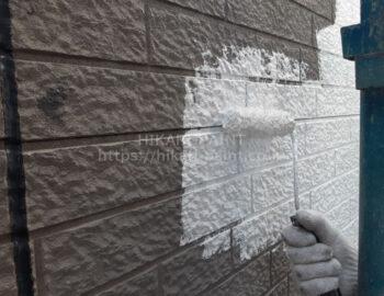 外壁玄関部 下塗り