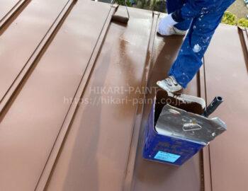 倉庫屋根 上塗り